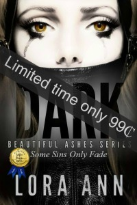 Lora Ann Dark Beautiful Ashes Series Cover with badge and sale(1)8.21.16
